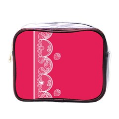 Strawberry Lace White With Pink Mini Toiletries Bag (one Side)