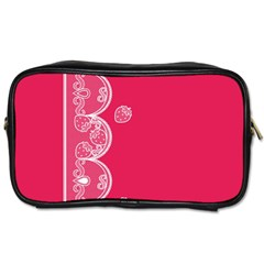 Strawberry Lace White With Pink Toiletries Bag (One Side)