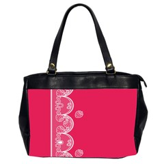 Strawberry Lace White With Pink Oversize Office Handbag (Two Sides)