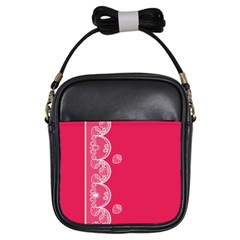 Strawberry Lace White With Pink Girls Sling Bag