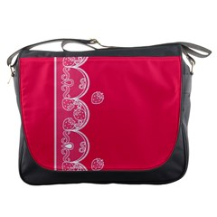 Strawberry Lace White With Pink Messenger Bag