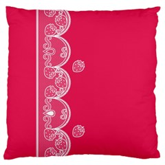 Strawberry Lace White With Pink Large Cushion Case (Two Sides)