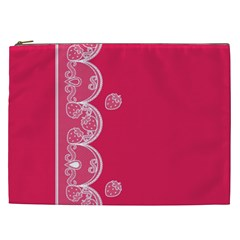 Strawberry Lace White With Pink Cosmetic Bag (XXL)
