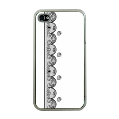 Lace White Dots White With Black Apple iPhone 4 Case (Clear)