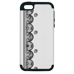 Lace White Dots White With Black Apple Iphone 5 Hardshell Case (pc+silicone)