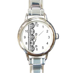 Lace White Dots White With Black Round Italian Charm Watch