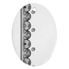 Lace White Dots White With Black Ornament (oval)