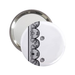 Lace White Dots White With Black 2.25  Handbag Mirror