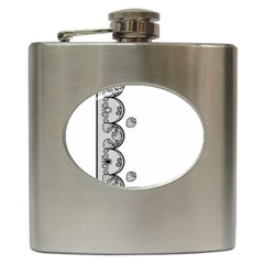 Lace White Dots White With Black Hip Flask (6 oz)