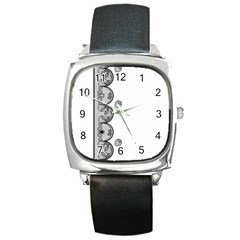 Lace White Dots White With Black Square Metal Watch