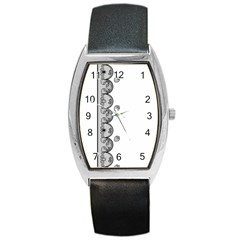 Lace White Dots White With Black Barrel Style Metal Watch