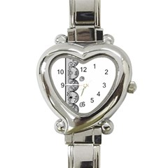 Lace White Dots White With Black Heart Italian Charm Watch