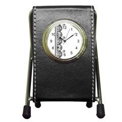 Lace White Dots White With Black Pen Holder Desk Clock