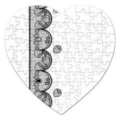 Lace White Dots White With Black Jigsaw Puzzle (Heart)