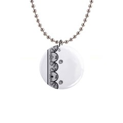 Lace White Dots White With Black 1  Button Necklace