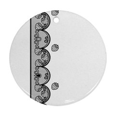 Lace White Dots White With Black Round Ornament (Two Sides)