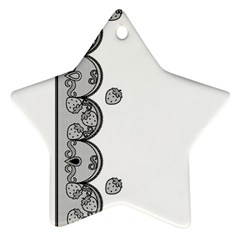 Lace White Dots White With Black Star Ornament (Two Sides)