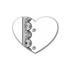 Lace White Dots White With Black Rubber Coaster (Heart)