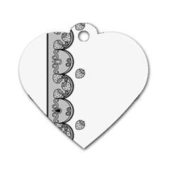 Lace White Dots White With Black Dog Tag Heart (One Side)