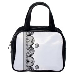 Lace White Dots White With Black Classic Handbag (one Side)