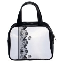 Lace White Dots White With Black Classic Handbag (two Sides)