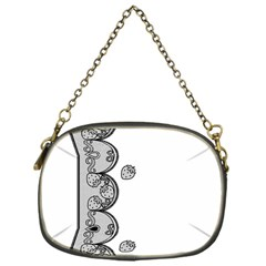 Lace White Dots White With Black Chain Purse (One Side)
