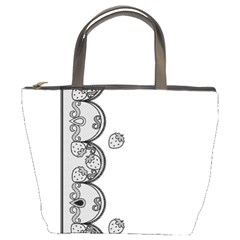 Lace White Dots White With Black Bucket Bag