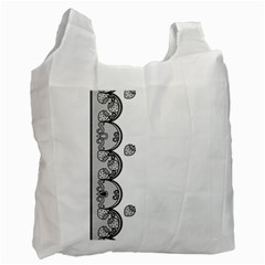 Lace White Dots White With Black Recycle Bag (one Side)