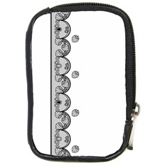 Lace White Dots White With Black Compact Camera Leather Case