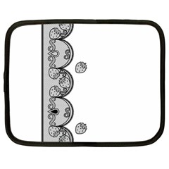 Lace White Dots White With Black Netbook Case (XL)