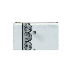 Lace White Dots White With Black Cosmetic Bag (Small)