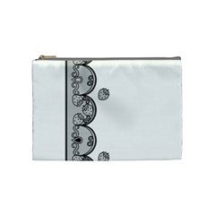 Lace White Dots White With Black Cosmetic Bag (Medium)