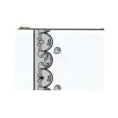 Lace White Dots White With Black Cosmetic Bag (Large)
