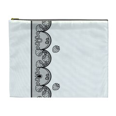 Lace White Dots White With Black Cosmetic Bag (xl)
