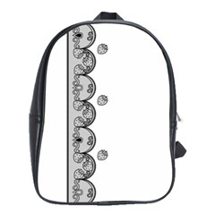 Lace White Dots White With Black School Bag (large)