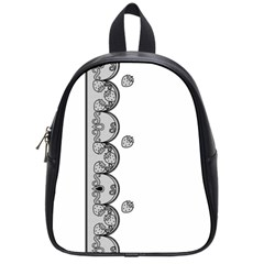 Lace White Dots White With Black School Bag (Small)