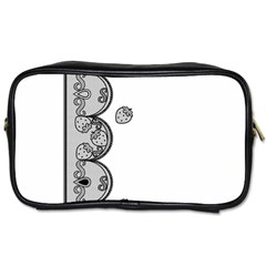 Lace White Dots White With Black Toiletries Bag (one Side)