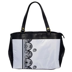 Lace White Dots White With Black Oversize Office Handbag (One Side)