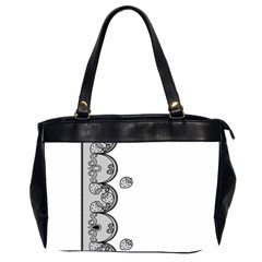 Lace White Dots White With Black Oversize Office Handbag (Two Sides)