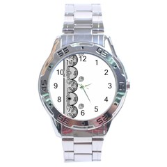 Lace White Dots White With Black Stainless Steel Analogue Men's Watch