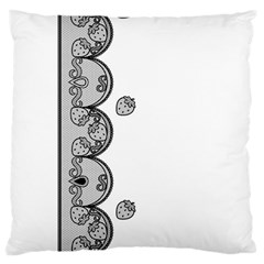 Lace White Dots White With Black Large Cushion Case (one Side)