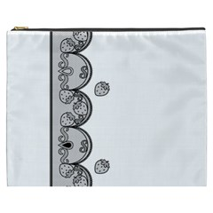 Lace White Dots White With Black Cosmetic Bag (XXXL)
