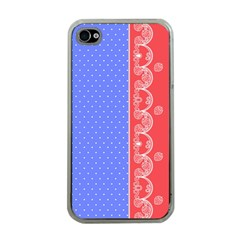 Lace Dots With Rose Purple Apple Iphone 4 Case (clear)