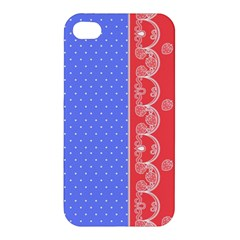 Lace Dots With Rose Purple Apple Iphone 4/4s Premium Hardshell Case