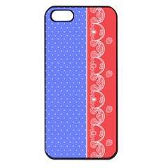 Lace Dots With Rose Purple Apple iPhone 5 Seamless Case (Black)