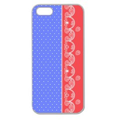 Lace Dots With Rose Purple Apple Seamless iPhone 5 Case (Clear)