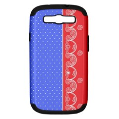 Lace Dots With Rose Purple Samsung Galaxy S III Hardshell Case (PC+Silicone)