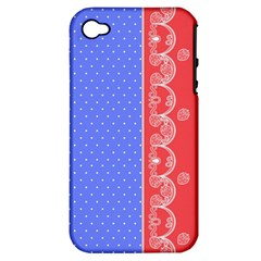 Lace Dots With Rose Purple Apple Iphone 4/4s Hardshell Case (pc+silicone)