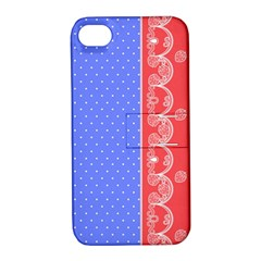 Lace Dots With Rose Purple Apple iPhone 4/4S Hardshell Case with Stand