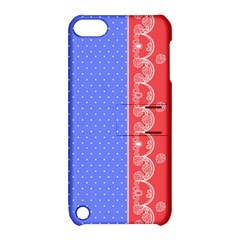 Lace Dots With Rose Purple Apple iPod Touch 5 Hardshell Case with Stand